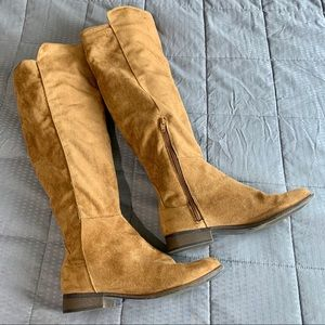 Mossimo Tan Faux Suede Tall Knee Boots Sz 8.5